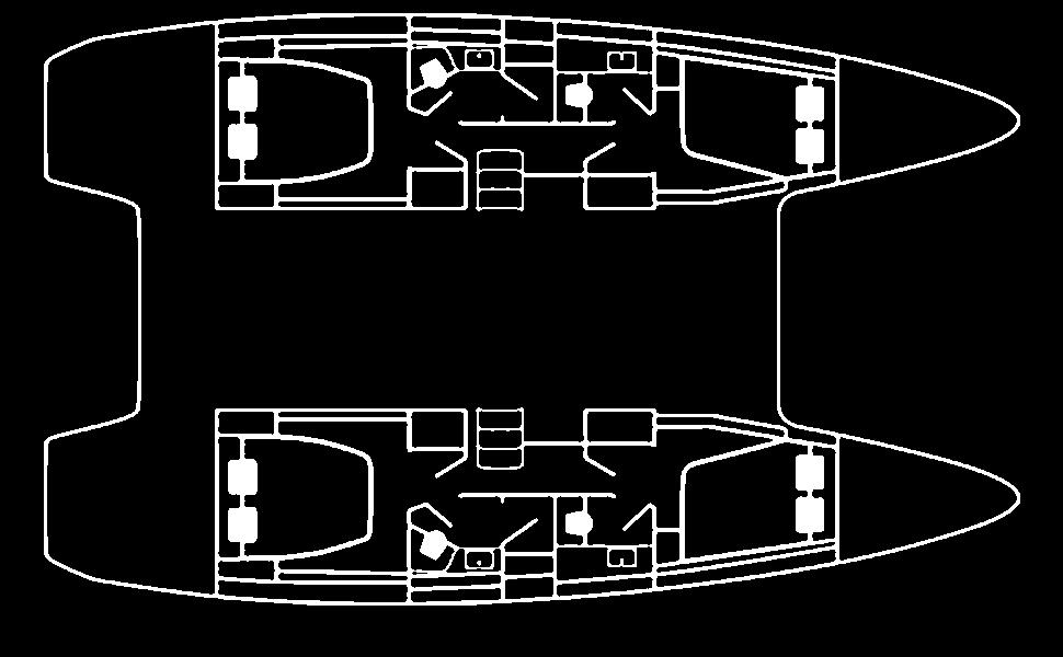 planimetria del catamarano lagoon 42