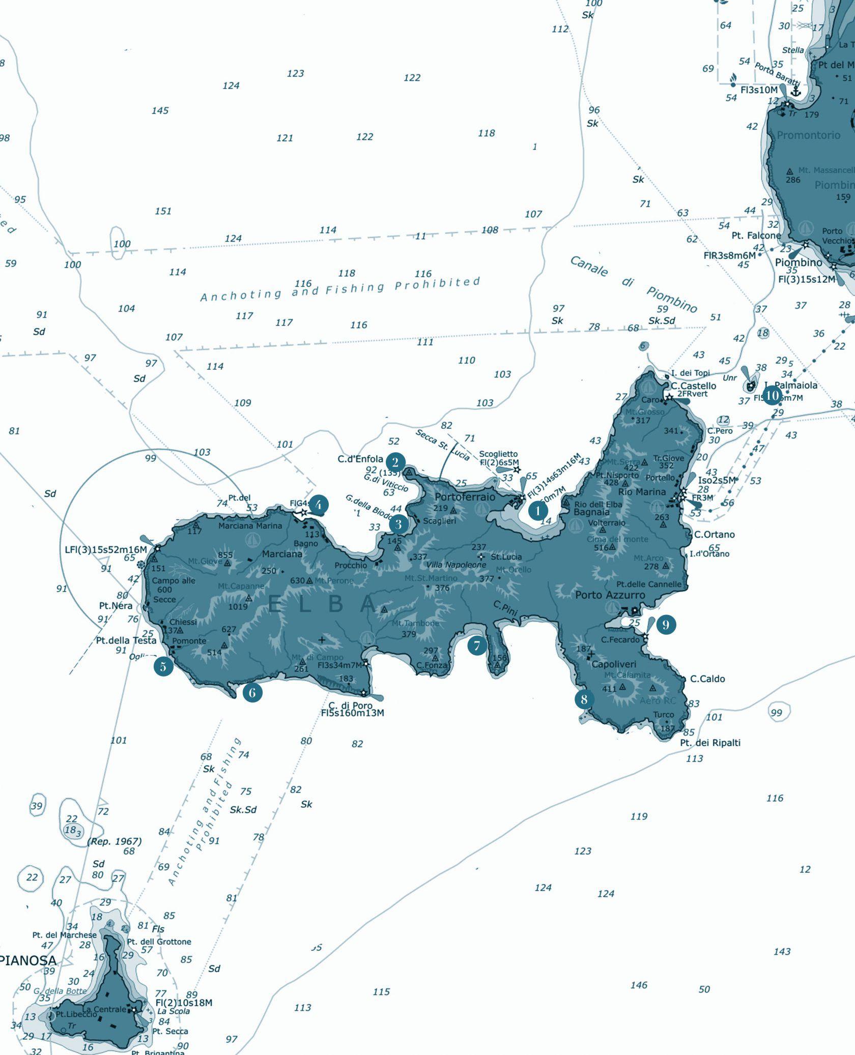 carta nautica isola d'elba