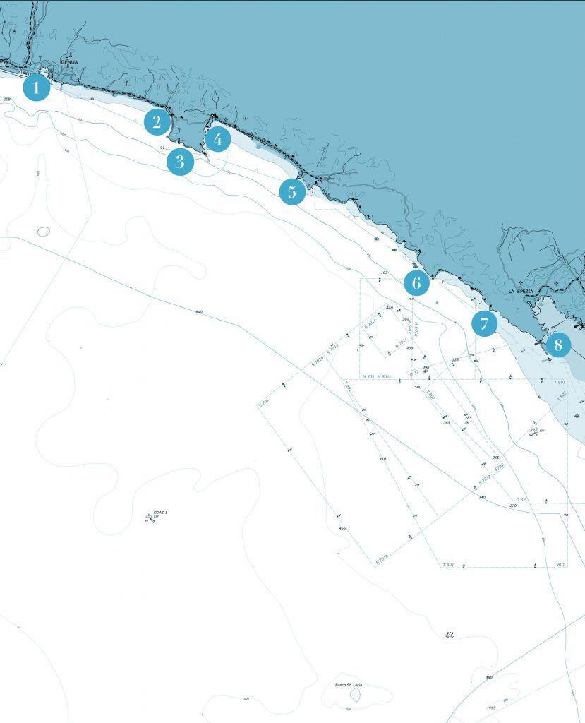 mappa vacanze in catamarano e barca a vela in liguria