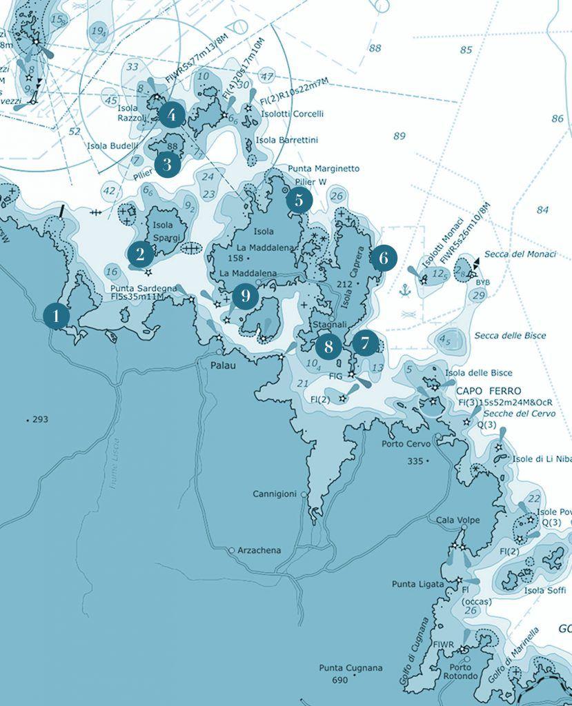 carta nautica arcipelago della maddalena in sardegna