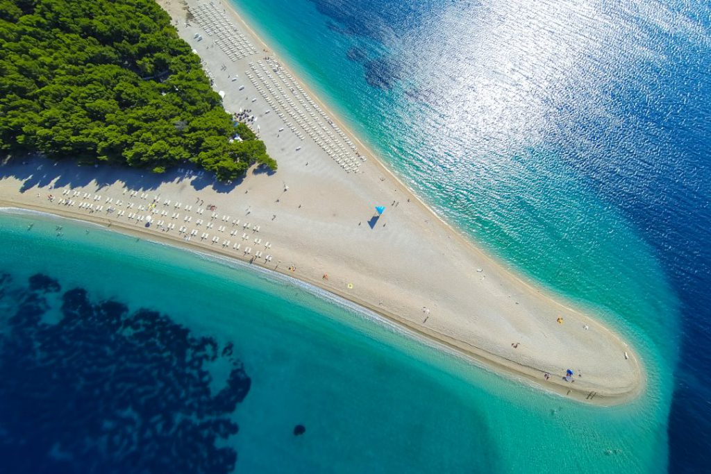 Famous beach Zlatni rat (Golden Horn or Golden Cape), Bol, Brac island, Dalmatia, Croatia, Europe.